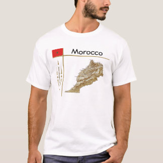Morocco Map + Flag + Title T-Shirt