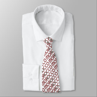 Morocco Moroccan Flag Typography Pattern Tie
