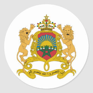 Morocco Official Coat Of Arms Heraldry Symbol Round Sticker