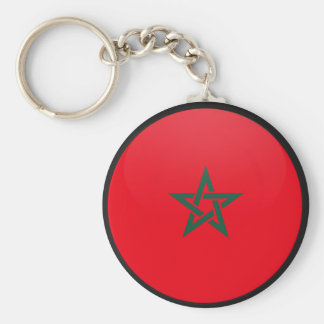 Morocco quality Flag Circle Basic Round Button Key Ring