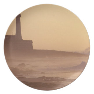 Morocco, Rabat, Lighthouse at sunset with Plates