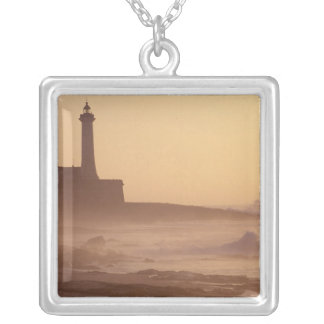 Morocco, Rabat, Lighthouse at sunset with Silver Plated Necklace