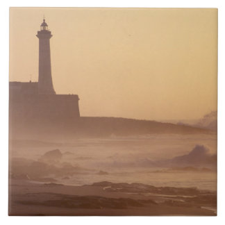 Morocco, Rabat, Lighthouse at sunset with Tile