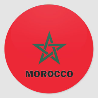 Morocco Roundel quality Flag Classic Round Sticker