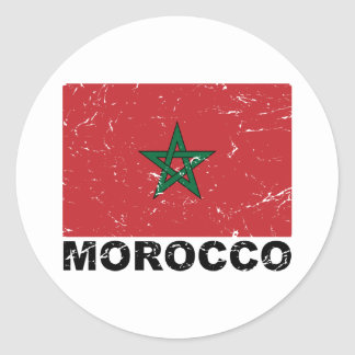 Morocco Vintage Flag Classic Round Sticker