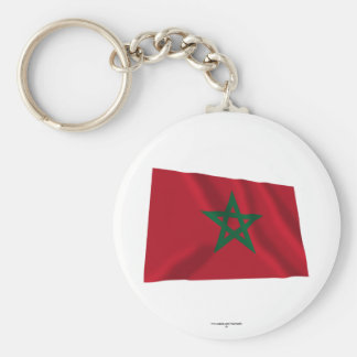 Morocco Waving Flag Basic Round Button Key Ring