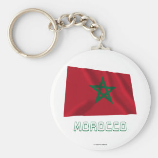Morocco Waving Flag with Name Basic Round Button Key Ring