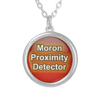 Moron Proximity Detector button Silver Plated Necklace
