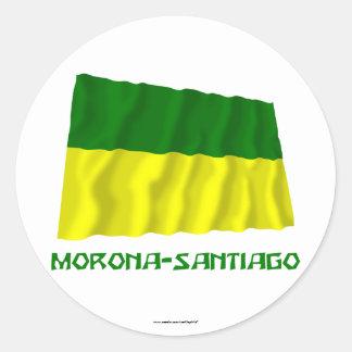 Morona-Santiago waving flag with Name Round Sticker