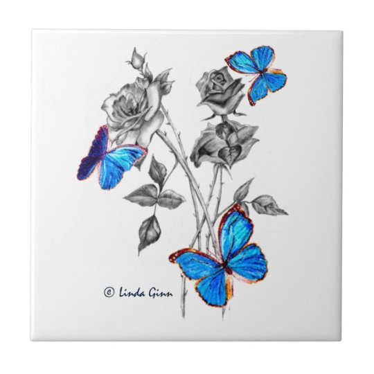 Morph Butterflies on Black and White Roses Tiles