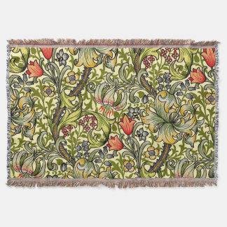 Morris Golden Lily Pattern Rugs Throw Blanket