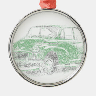 Morris Minor (Biro) Silver-Colored Round Decoration