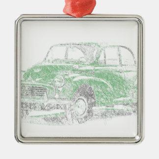 Morris Minor (Biro) Silver-Colored Square Decoration