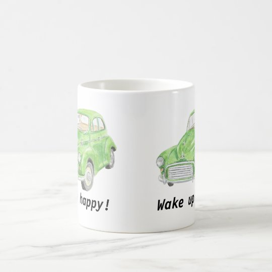 Morris Minor classic car art mug, wake up