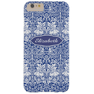 Morris Pattern Blue Rabbit Personalized Monogram Barely There iPhone 6 Plus Case