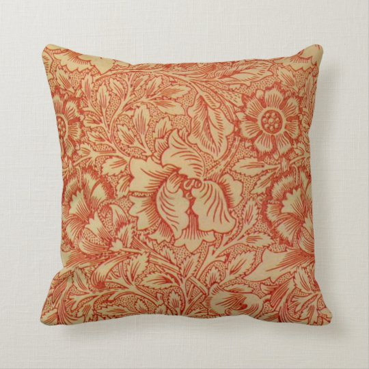 Morris - Pink and Poppy.floral pattern Cushion