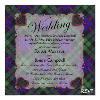 Morrison Scottish clan tartan - Plaid 13 Cm X 13 Cm Square Invitation Card