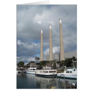 Morro Bay Fishing Boats and Smokestacks Greeting Card