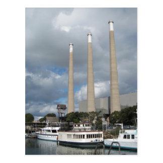 Morro Bay Fishing Boats and Smokestacks Postcard