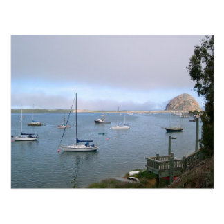 Morro Bay Lagoon, Boats, and Rock Postcard
