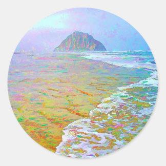 Morro Bay Painting Classic Round Sticker
