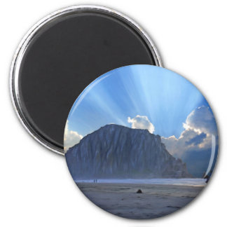 Morro Rock and Horses 6 Cm Round Magnet