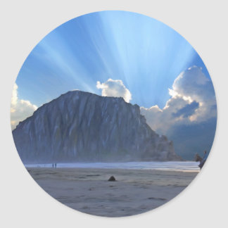 Morro Rock and Horses Round Stickers