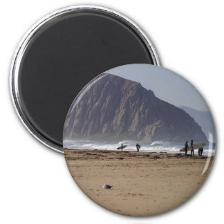 Morro Rock Beaches Surfers 6 Cm Round Magnet