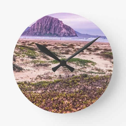 Morro Rock Dunes at Sunset Wall Clocks