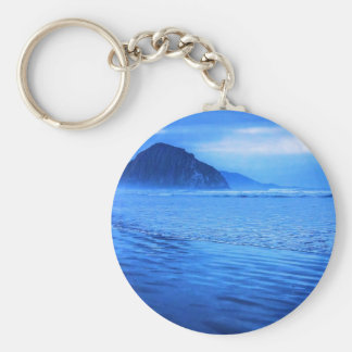Morro Rock with seascape and sand Basic Round Button Key Ring