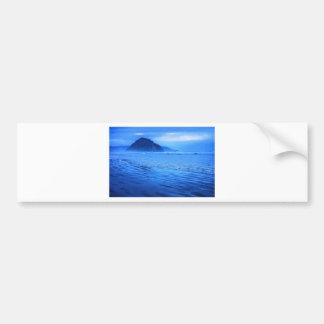 Morro Rock with seascape and sand Car Bumper Sticker
