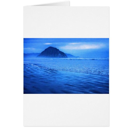 Morro Rock with seascape and sand Greeting Cards