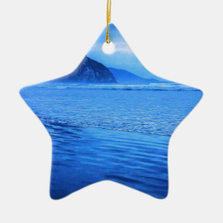 Morro Rock with seascape and sand Ceramic Star Decoration