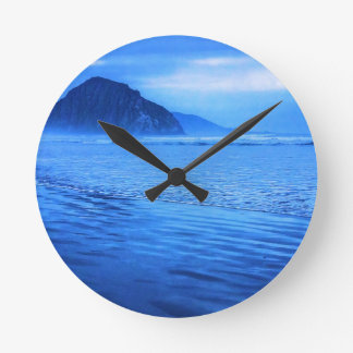 Morro Rock with seascape and sand Wallclock