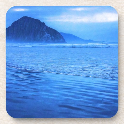 Morro Rock with seascape and sand Beverage Coaster
