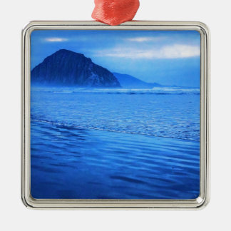 Morro Rock with seascape and sand Christmas Tree Ornament