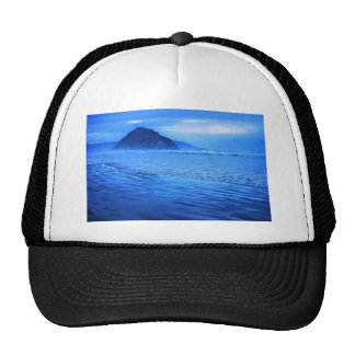 Morro Rock with seascape and sand Trucker Hats
