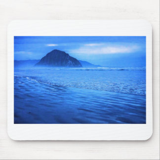 Morro Rock with seascape and sand Mouse Pads