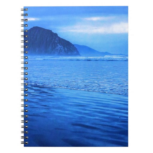Morro Rock with seascape and sand Note Books