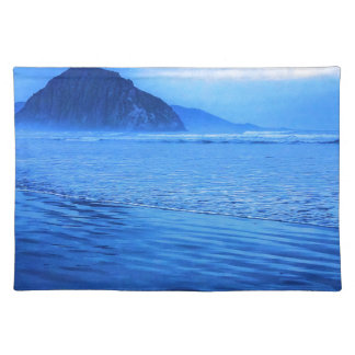 Morro Rock with seascape and sand Place Mat