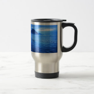 Morro Rock with seascape and sand Stainless Steel Travel Mug
