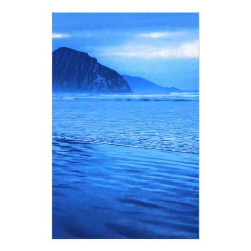 Morro Rock with seascape and sand Stationery Design