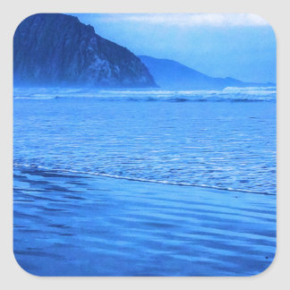 Morro Rock with seascape and sand Square Stickers