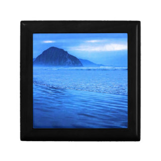 Morro Rock with seascape and sand Trinket Boxes