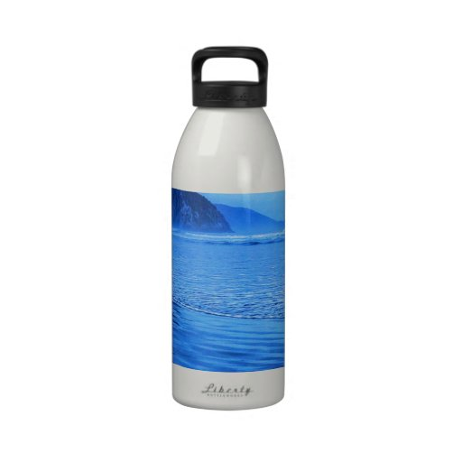 Morro Rock with seascape and sand Water Bottle