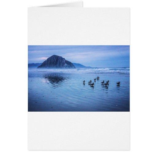 Morro Rocks at Dusk Greeting Cards