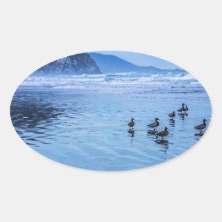 Morro Rocks at Dusk Oval Sticker