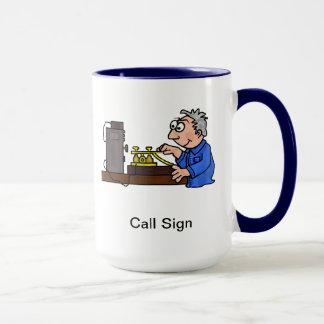 Morse Code Male Operator Grey Hair Mug  Customize