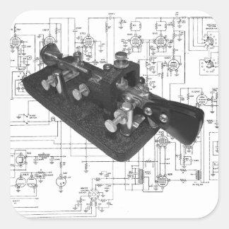 Morse Code Radio Key Schematic Square Sticker