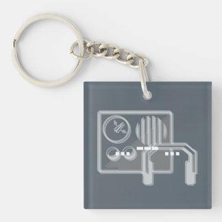 Morse code SOS keyring blue Double-Sided Square Acrylic Key Ring
